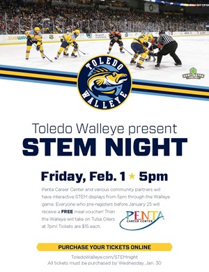 STEM Night at the Toledo Walleye is Feb. 1st